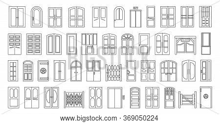 Exterior Door Isolated Vector Illustration On White Background . Vector Line Set Doorway. Line Set I