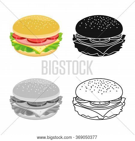 Vector Design Of Bun And Cheese Logo. Web Element Of Bun And Bacon Stock Symbol For Web.