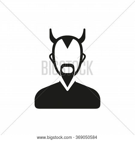 Simple Icon Of Horned And Bearded Daimon. Satan, Devil, Demon. Faith Concept. Can Be Used For Topics