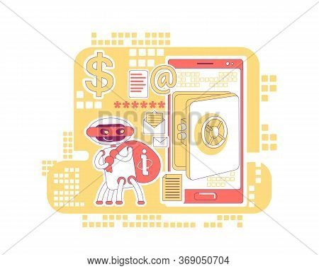 Scraper Bot Thin Line Concept Vector Illustration. Stealing Bank Account Data And Personal Informati
