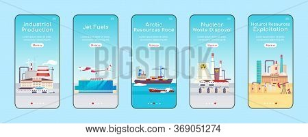 Industrial Plants Onboarding Mobile App Screen Flat Vector Template. Natural Resources Exploitation