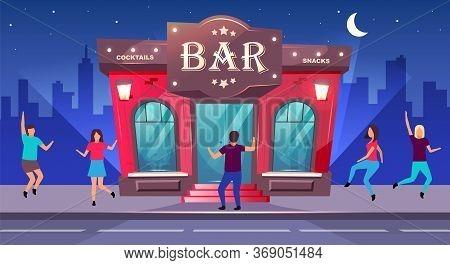 Bar Night Event Flat Color Vector Illustration. Nightclub Entertainment. Group Celebrate On Sidewalk