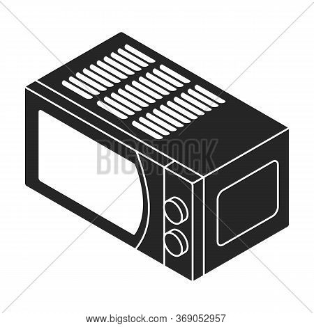 Microwave Vector Icon.black Vector Icon Isolated On White Background Microwave.
