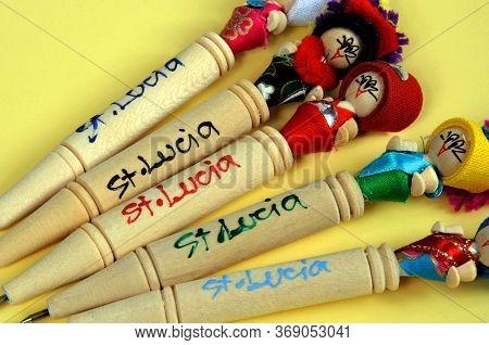 Souvenir Pens From The Caribbean Island Of St Lucia, Caribbean.