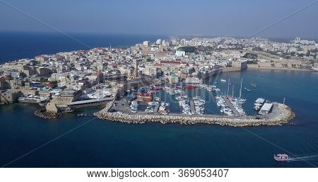 Acre Israel: Aerial Footage Of The Old City Bay And Port Of Acre Or, Israel.
