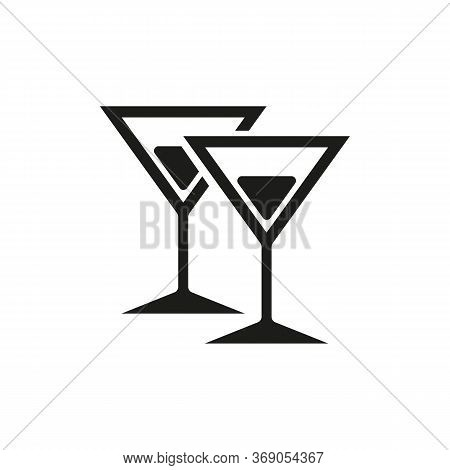 Simple Icon Of Martini Glasses With Cocktails. Martini, Alcohol Drinks, Bar. Party Concept. Can Be U