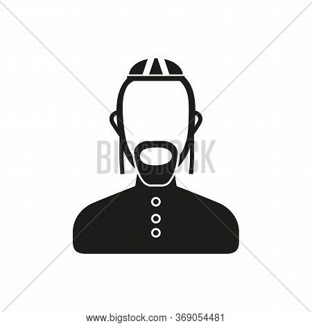 Simple Icon Of Bearded Man. Jew, Rabbi, Judaism. Faith Concept. Can Be Used For Topics Like Religion