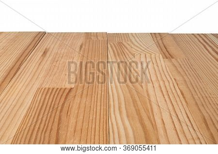 Natural Wooden Background Ready For Product Presentation Or Mockup. Isolated On White.