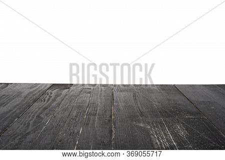 Black Rough Wooden Background Ready For Product Presentation Or Mockup. Isolated On White.