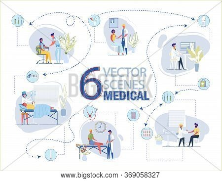 6 Vector Medical Scenes. Doctor Bandage Injured Leg. Woman Dressing In Hospital. First Aid. Nurse Ta