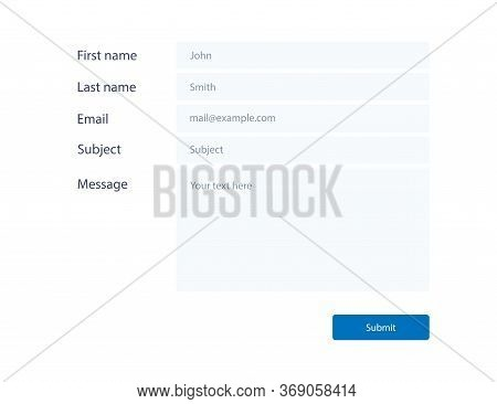 Mail Contact Form Mockup. Blank Window For Feedback. Template Of Email Message. Submit Button With I