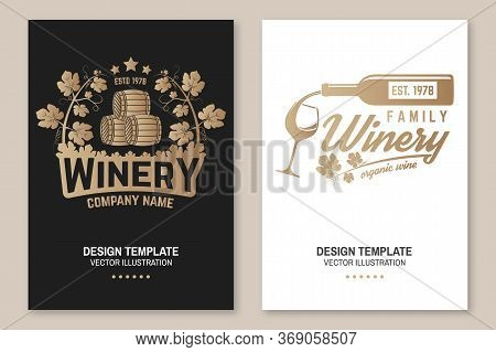 Family Winery Badge, Poster, Flyer, Template, Card. Vector Illustration. Vintage Design For Winery C