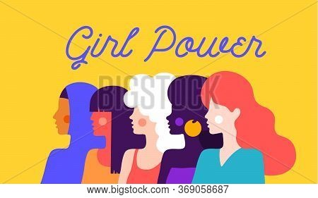 Girl Power. Modern Flat Character. Simple Character Of Woman Lady Of Different Nationalities, Races,