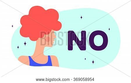 No. Modern Flat Character. Silhouette Woman Speak Speech Bubble Text No. Simple Character Woman, Per