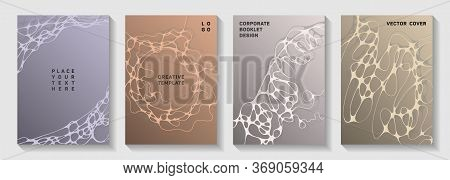 Pharmaceutical Healthcare Vector Covers With Neurons, Synapses. Mobile Curve Lines Geometry Backdrop