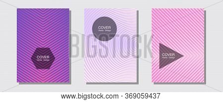 Banner Graphics Cool Vector Templates Set. Hipster Placards. Halftone Lines Music Poster Background.