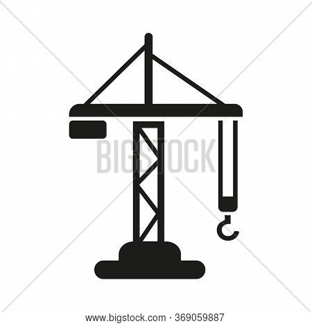 Icon Of Construction Crane. Lifting Machine, Manufacturing, Tower Crane. Transportation Concept. Can