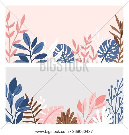 Decorative Border Of Branches And Leaves. Illustration Foliage With Minimalism Plants, Pink And Grey