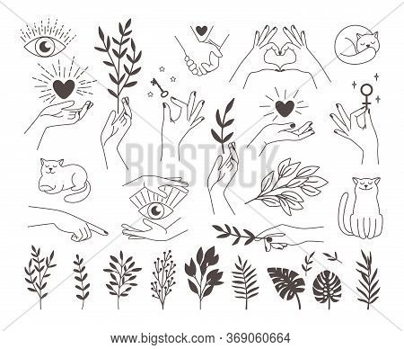 Collection Icons Magic Hands Tattoo. Design Logos Female Vector Hands With Mystical Illustrations He