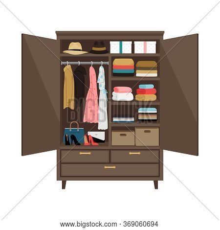 Open Wardrobe. Vector Illustration Wooden Wardrobe On White Background With Drawer Design Clothes, I