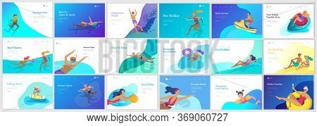 Landing Page Set With People Family And Children In Sea, Pool Or Ocean Performing Activities. Men Or