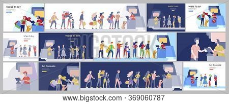 People Queue In Supermarket With Cashier, Where To Buy Concept Of Customer And Shop Assistant. Selli