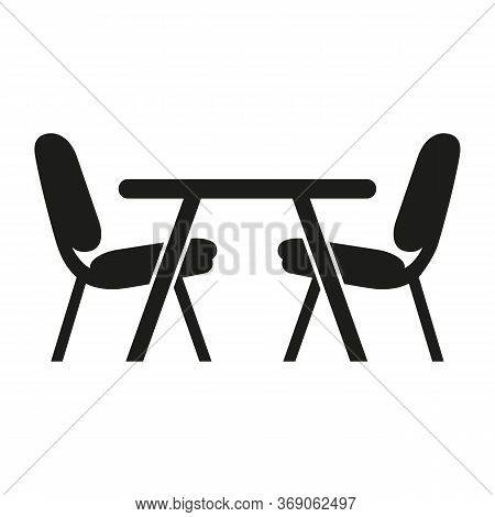 Icon Of Dinette Place. Table, Chairs, Food And Drink Establishment. Kitchen Concept. Can Be Used For