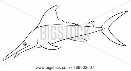 Swordfish. Marlin. Vector Illustration. Outline On A White Isolated Background. Sea Fish With A Long