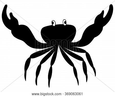 Crab. Silhouette. Vector Illustration. Outline On A White Isolated Background. Marine Invertebrate A