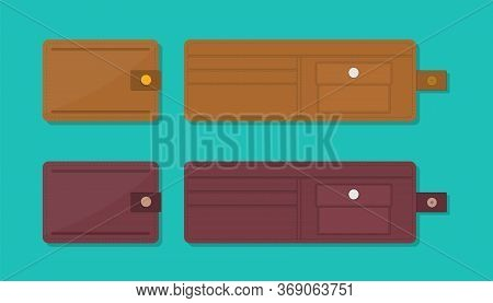 Wallet Icons. Open And Closed Purse For Money, Credit Card. Leather Empty Wallets. Flat Design Illus