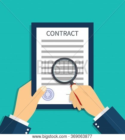 Contract Document With Magnifying Glass In Hand. Check And Search In Legal Agreement The Fraud. Revi