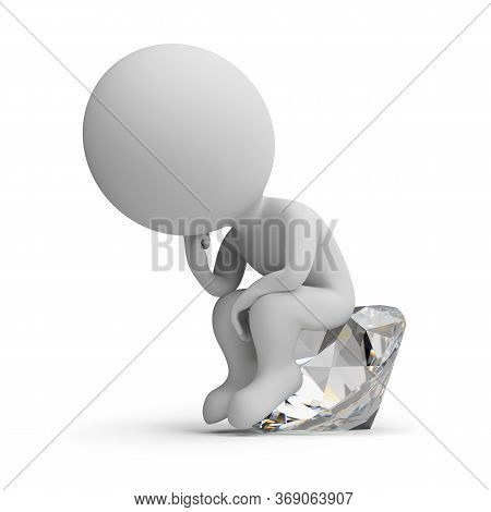 3d Small People - Thinker On The Diamond. 3d Image. White Background.