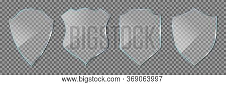 Shield Glass. Glass Icon Of Guard Isolated On Transparent Background. Defense Symbols. Badge Award F