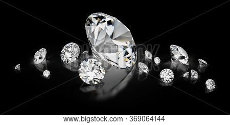 3d Image. Scattering Of Diamonds On A Black Reflective Background.