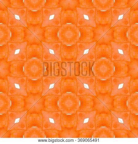 Green Geometric Chevron Watercolor Border. Orange Extra Boho Chic Summer Design. Textile Ready Stunn