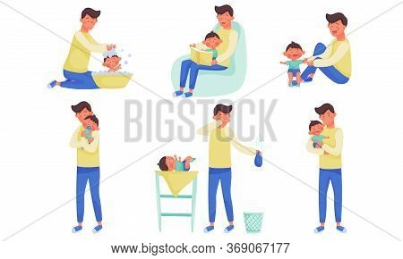 Young Father Changing Diaper, Bathing And Playing With His Little Baby Vector Illustration Set