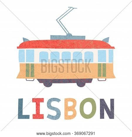 Portuguese Tram. Sign, Symbol. Vector Illustration Isolated On White.