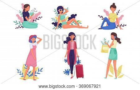 Young Woman Walking And Speaking By Phone With Floral Twigs And Branches Behind Vector Illustration