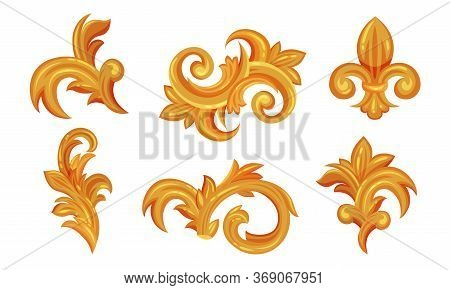 Golden Vintage Monograms With Fancy Scrolls Vector Set