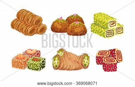 Turkish Delights Or Arabic Sweets With Famous Baklava And Rahat Lakoum Vector Set. Oriental Pastry A