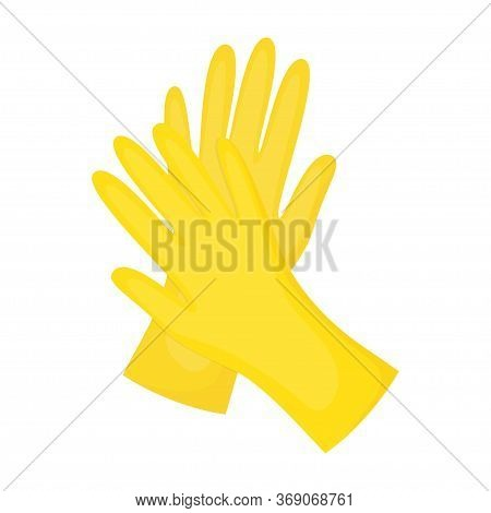Cleaning Gloves Isolated On White, Vector Illustration, Dish Wash Gloves, Yellow Glove For Cleaning