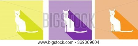 Cat Vector Isolated On Background , Sign, Silhouette, Simple