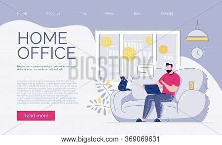 A Freelance Employee Works At Home At A Quiet Pace, At A Convenient Time. Site Template. The Concept