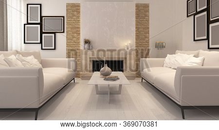 3d Rendering Of A Living Room With Fireplace And Modern Furniture. It`s All About Minimalism! Simple