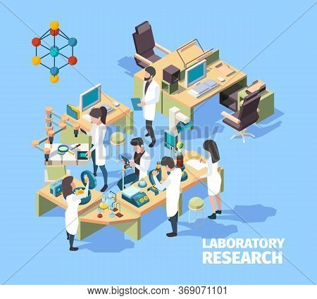 Science People. Laboratorium Interior Group Of Scientists Doctors Nurses Working In Clinic Lab Vecto