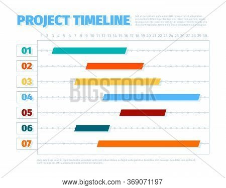 Project Schedule. Agenda Dates Ui Interface For Project Management Timeline History Business Vector