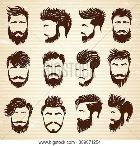 Male Hairstyle. Beauty Haircut Salon For Man Styling Barber Shaved Grooming Vector Collection. Hairc