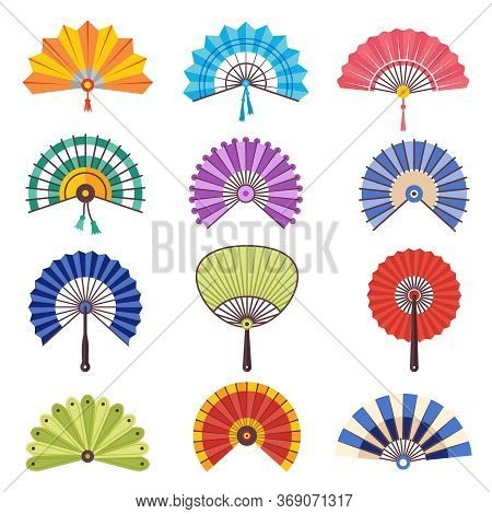 Colored Hand Fan. Asian Beautiful Paper Traditional Craft Fashionable Symbols Vector Collection. Tra