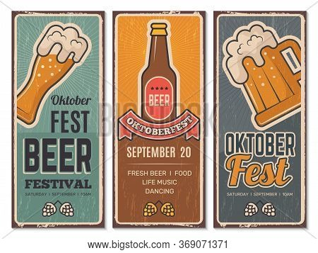 Beer Festival Invitation. Oktoberfest Vintage Banners With Pictures Of Craft Beers Lager Germany Bav