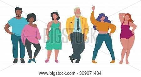 Fat People. Body Positive Attractive Characters Overweight Male And Female Persons Activities Lifest